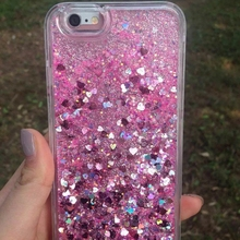 Glitter Flowing Case For iPhone 5S SE Bling Love Liquid Quicksand Phone Cases 5 6 6S 7 8 Plus X Girly Cute Cover Capa