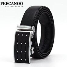 ФОТО [feecanoo]smooth automatic buckle belts for men famous brand solid strap genuine leather belt good quality waistband cummerbunds