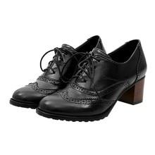 Женская обувь с перфорацией типа «броги»; сезон весна-осень; винтажные Туфли-оксфорды на не сужающемся книзу массивном каблуке с вырезами; женская модная обувь на шнуровке;#89