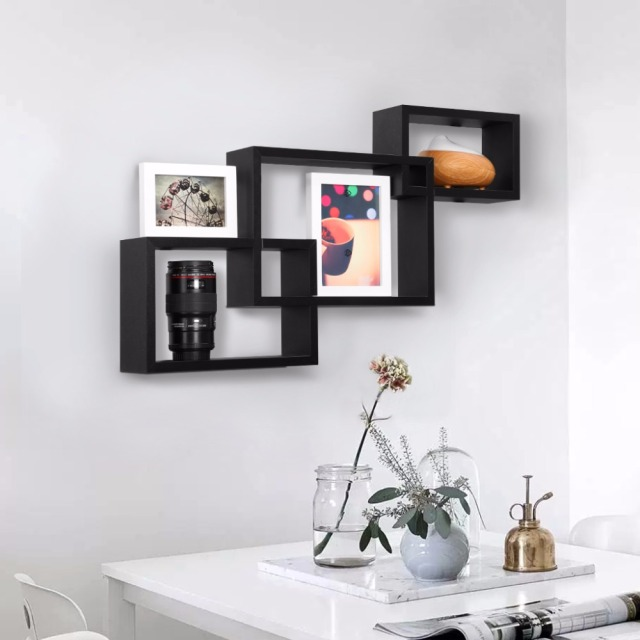 3 Pieces Floating Wall Corner Shelf Unit Wall Mounted Shelving Bookcase  Storage Display Organizer For Living