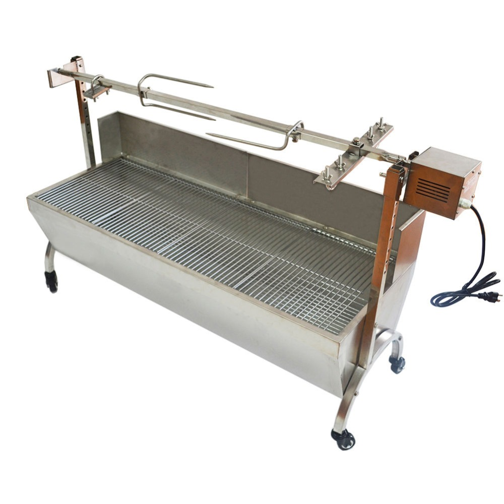 """Stainless Steel BBQ Pig Lamb Goat Chicken Spit Roaster Rotisserie Spit 46"""" Large"""