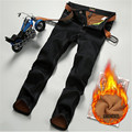winter jeans men warm brand clothing male casual slim middle waist fleece denim fit pants straight men's fashion leisure jean