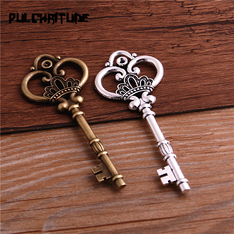 2Pcs 7 Color Metal Alloy Lovely Large Crown Key Charms Vintage Jewelry Keys Charms 32*84mm 4