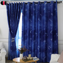 Blue Planet Curtains Blackout Custom Made Cotton Polyester Bedroom Living Room French Window Drapes 2018 Winter WP111C(China)