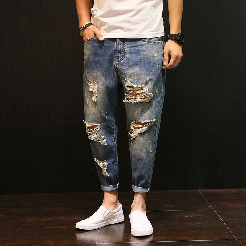 Free shipping 2017 light blue Vintage Jeans men Casual hiphop Ripped Jeans mens distressed pants Men Denim harem trousers 050114