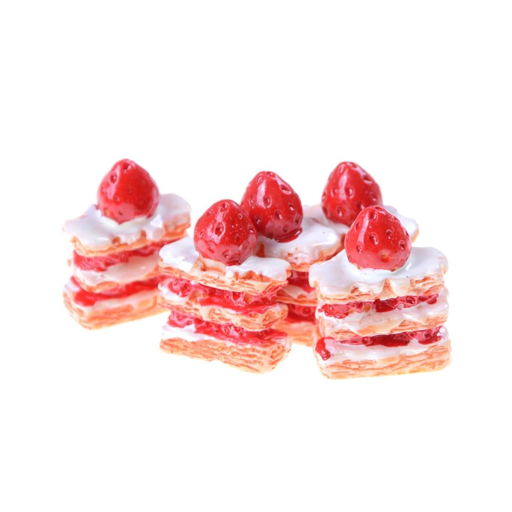 5PCS Mini Strawberry Cake Figurine Cabochon Toys Dollhouse/Miniatures DIY Phone Case Accessories Kids Kitchen Toys