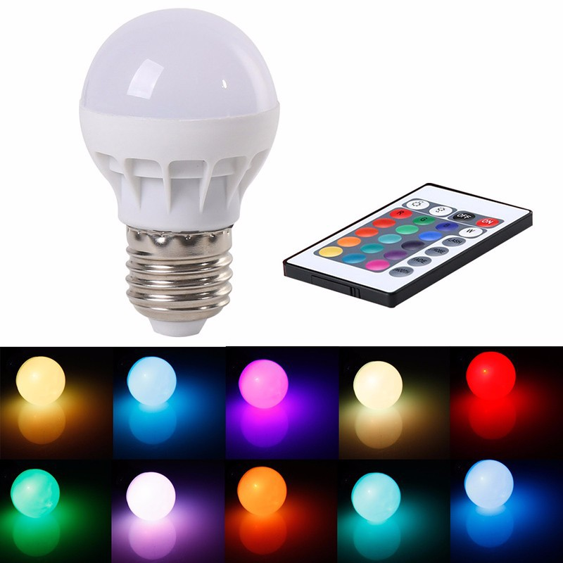 16 Color Changing LED Light Bulb with Remote Control Dimmable RGBW Multicolor LED Light 85-265V ...