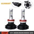 Auxmart X3 H8 H9 H11 LED 50W 6000lm Car Headlight Kit 3000/6500/8000K CSP Single beam Fog Lights 12v 24v Fanless Auto Front Bulb