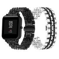 Correa de reloj de Metal para Huami Amazfit Bip reloj inteligente para Amazfit Stratos 2 Pace GTR 47MM GTR42MM pulsera de acero inoxidable