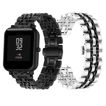 Metal Watch Strap For Huami Amazfit Bip Smart Watch Band For Amazfit Stratos 2 Pace GTR 47MM 42MM GTS Bracelet Stainless Steel