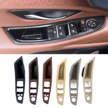 For BMW 5 Series F10 F18 2011 - 2014 2015 2016 2017 Car Interior Carbon Fiber Texture Door Pull Handle Protective Cover Trim new accessories for bmw 5 series f10 f18 520i 2011 2014 air vent outlet cover trim 13 pcs set