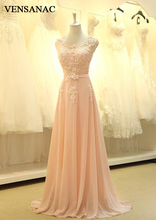 VENSANAC New A Line 2017 Beadings Long Evening Dresses Sleeveless Elegant Lace Sash Sweep Train Party Prom Gowns