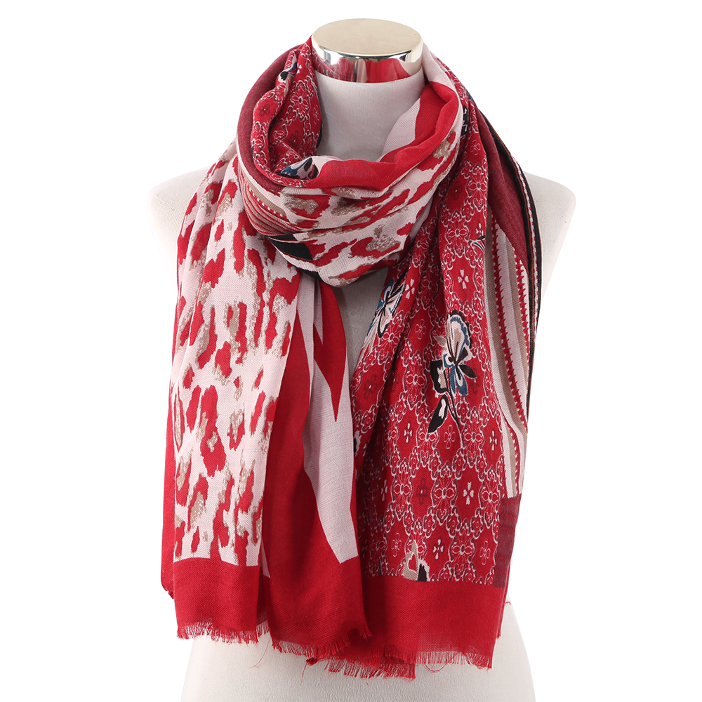 Winfox Red Flower Striped Long Wraps Shawl Female Scarf Women Soft Stole Scarves
