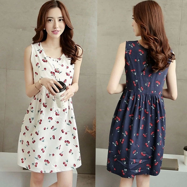 Aliexpress.com : Buy Summer Cute Cherry Printing Sleeveless Cotton ...
