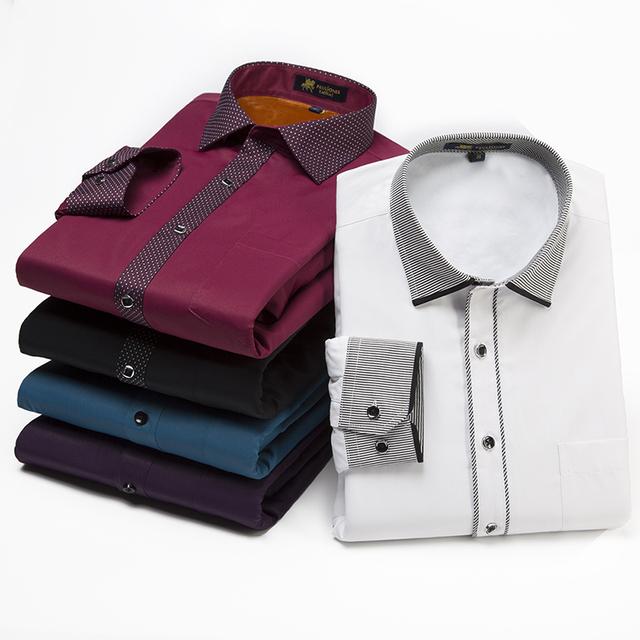 Plus size 5XL de Manga Longa Camisas de Vestido Formal Inverno Térmica De Veludo-acolchoado Espessamento Camisas Vintage Chiness Marca Homens Blusa
