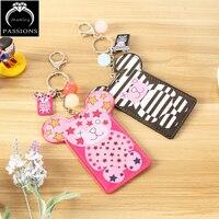 New Fashion Cute Bear Key Holder Keychain For Mini Bag Pendant Credit Card Photo Key Ring