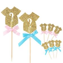 10Pcs Glitter Paper Gender Reveal Cupcake Topper Clothes Baby Shower Party Birthday Wedding Celebration Cake Food Decor Supplies