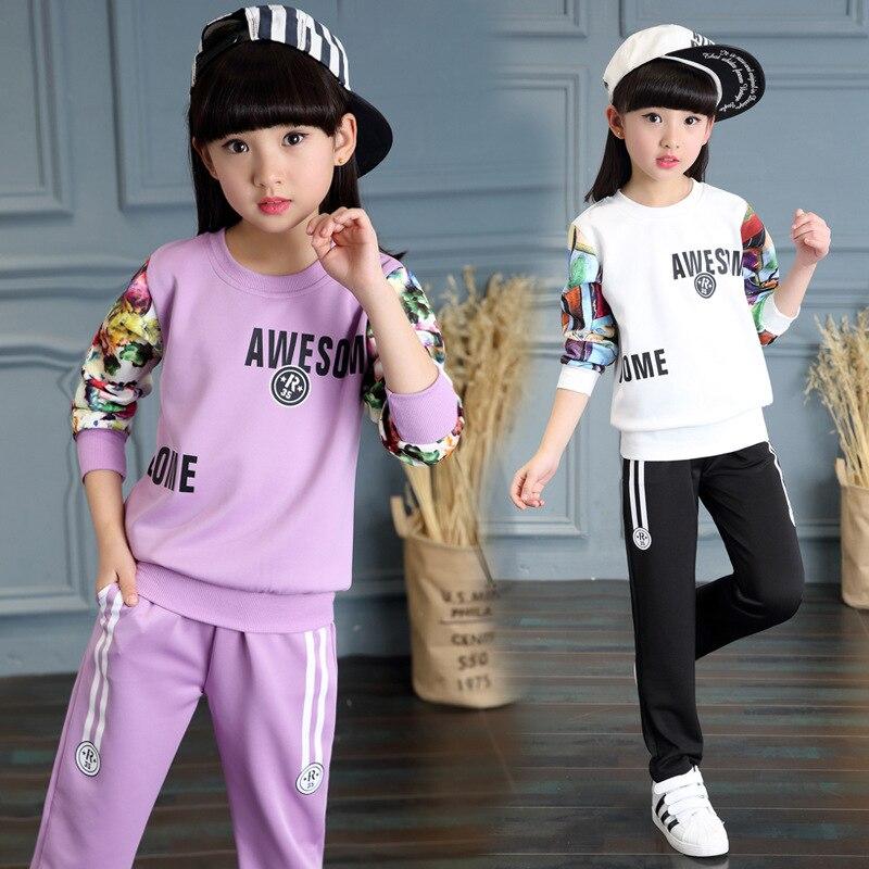 ФОТО Kids girls spring / autumn 2 pcs set 2017 new baby girls' clothing fashion flower sleeve sweater suit 4/5/6/7/8/9/10/11/12/13