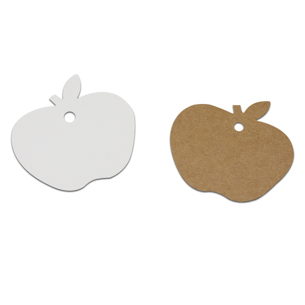 DHL 2500Pcs/Lot 6*6cm Blank Kraft Paper Label Apple Shape DIY Gift Party Event Tags Message Cards Price Luggage Hang Tag Labels