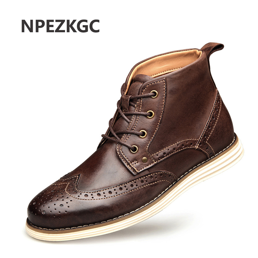NPEZKGC Fashion Genuine Cow Leather Men Short Boots Spring Autumn Lace Up Brogue Ankle Boots Men's Boots Plus Size 40-48