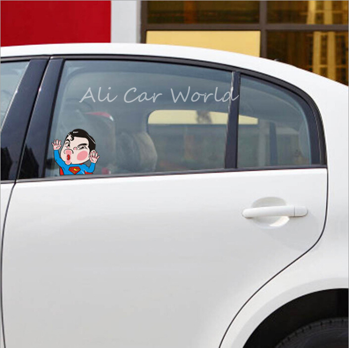Hot q version of superman car sticker funny cartoon car decals hit the car glass stickers on car window waterproof sunscreen on aliexpress com alibaba