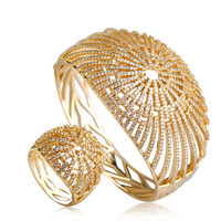 Luxury Wedding Wide Bangles Ring Sets Women Bridal Big Bangle Rings Gold Color Rhinestone Zircon Jewelry