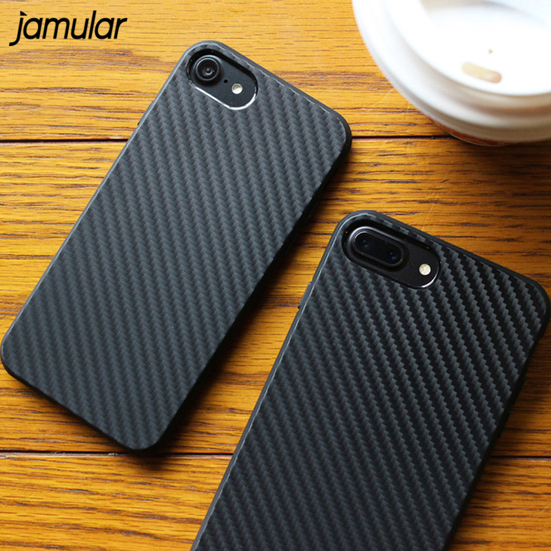 JAMULAR Environmental Carbon Fiber Case For iPhone 8 6 6S Plus Soft ShockProof Pouch Cover For iPhone 7 Plus 5S SE Phone Cases