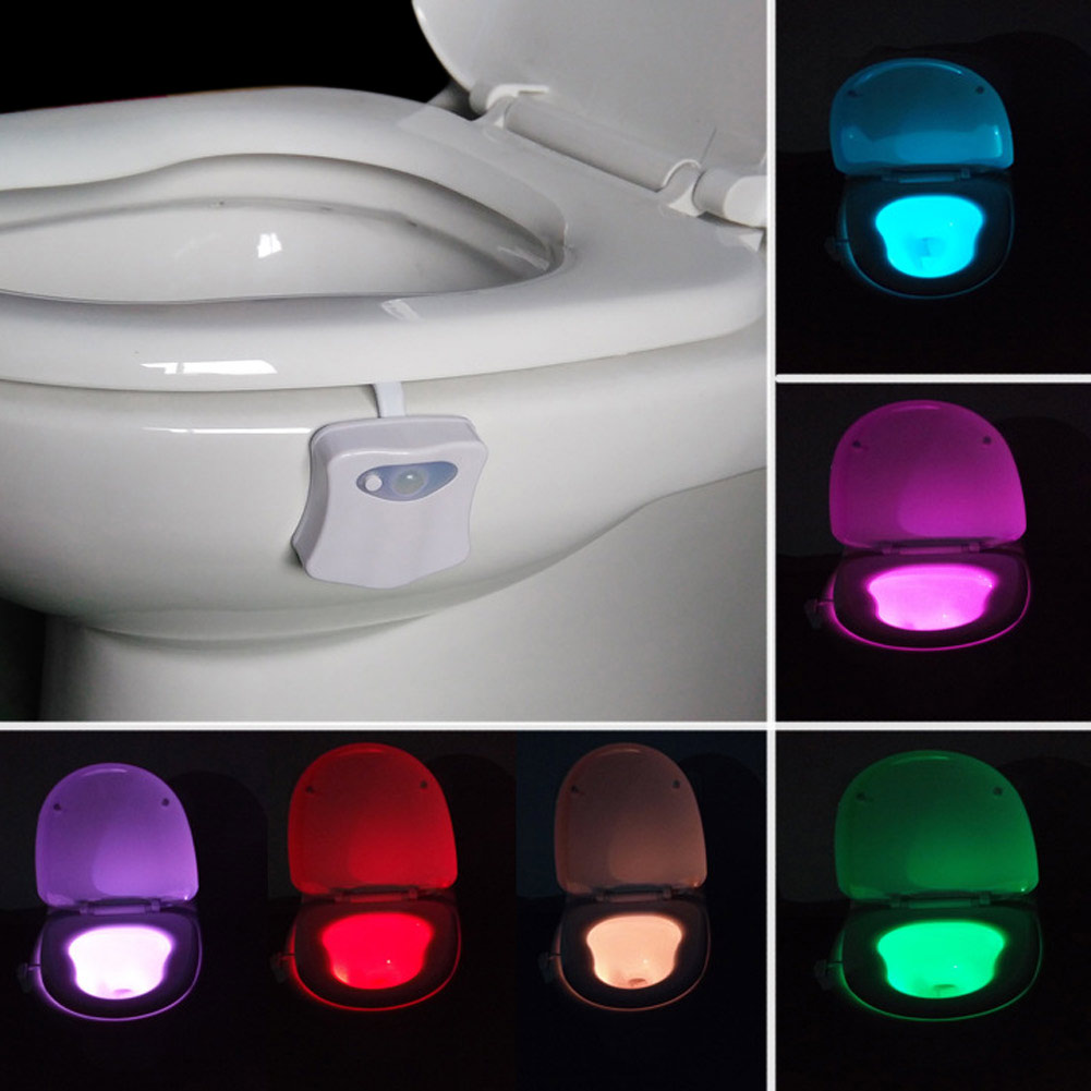 RGB светодиодный свет Водонепроницаемый Ванная комната туалет Night Light человеческого Средства ухода за кожей движение активированный сиденье Сенсор лампы аварийного свет aaa Ванная комната