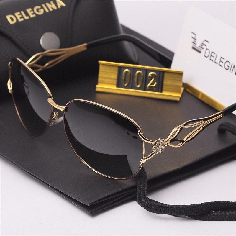 Polarized Sunglasses Case DLEGINA Designer Women Retro Ladies Vintage Brand With Points