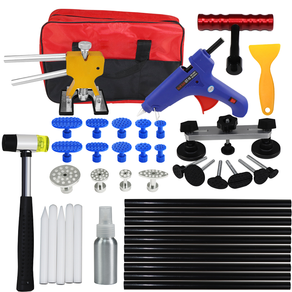 WHDZ PDR Kit Tools Car Dent Repair Tool Dent Puller Hot Melt Glue Gun Pulling Bridge Rubber Hammer Paintless Dent Removal