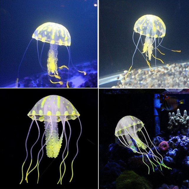Toys Silicone Glowing Effect Artificial Jellyfish Ornament Fish Tank Aquarium Decoration Moves by Water Current in Tank