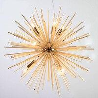 Post modern Gold Pendant Lights Living Room Restaurant Study led radiation sphere art Personality design pendant lamp