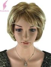 Yiyaobess 10 дюймов Жаропрочных Синтетические Афроамериканца Блондинка Парик Для Женщин Среднего Возраста Подчеркивает Природный Короткие Вьющиеся Парики