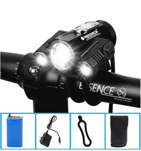 ФОТО DEROACE T6 X3 LED Rechargeable bike Lights 180 degree adjustable IPX6 18650 battery set bicycle lamp headlights flashlight
