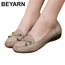 BEYARNE 2019Spring Mother fashion shoes leather Soft bottom comfortable flat shoes women large size shoes 35 41 Ladies shoesE382