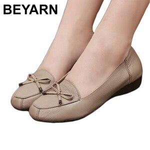 Image 1 - BEYARNE chaussures en cuir pour mères, chaussures à semelle souple, confortables, plates, grande taille 35 41 pour dames, printemps 2019