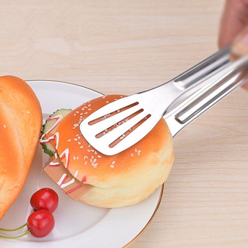 Bread Food Tongs Kitchen Buffet Cooking Stainless Steel Tool Anti Heat Bread Clip Pastry Clamp Barbecue Tongs