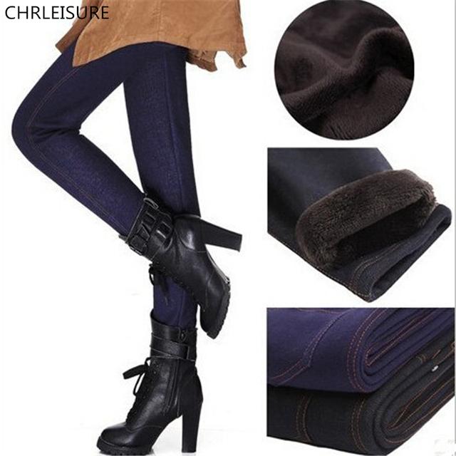Chrleisure xl-xxxl 2 cores calças de espessamento inverno das mulheres imitação jeans moda calças quentes para as mulheres com bolso