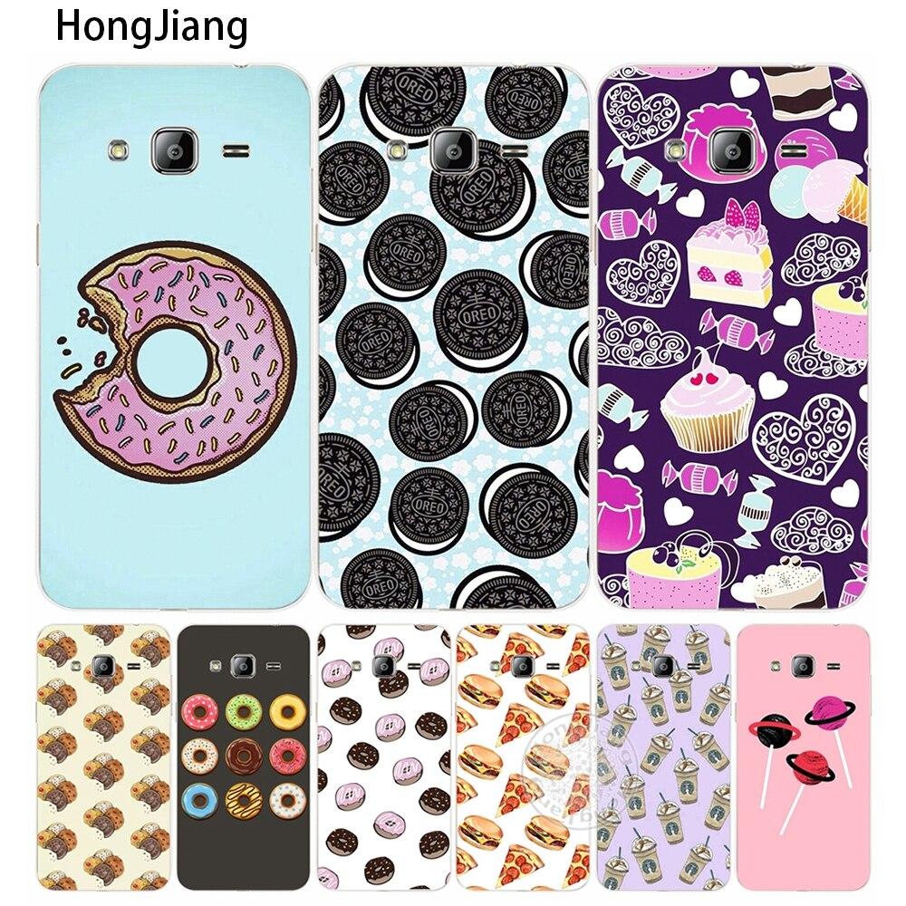 Hongjiang закуски Cookie пицца печенье крышка телефона чехол для Samsung Galaxy J1 J2 J3 J5 J7 мини Ace 2016 2015