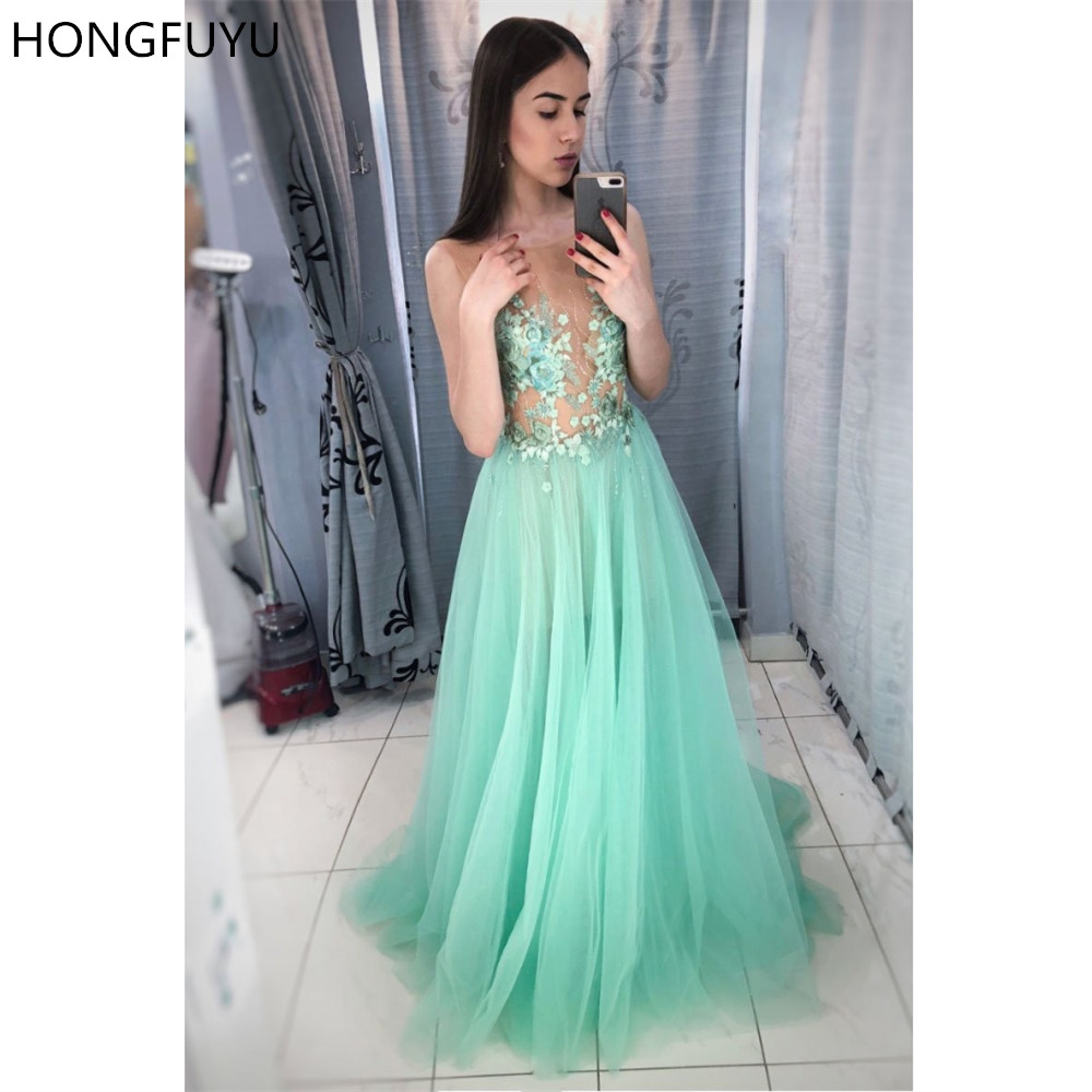 HONGFUYU Scoop Neck Tulle Prom Evening Gowns Lace Appliques Long Party Dresses A-line Illusion Vestidos Formal Dress For Women
