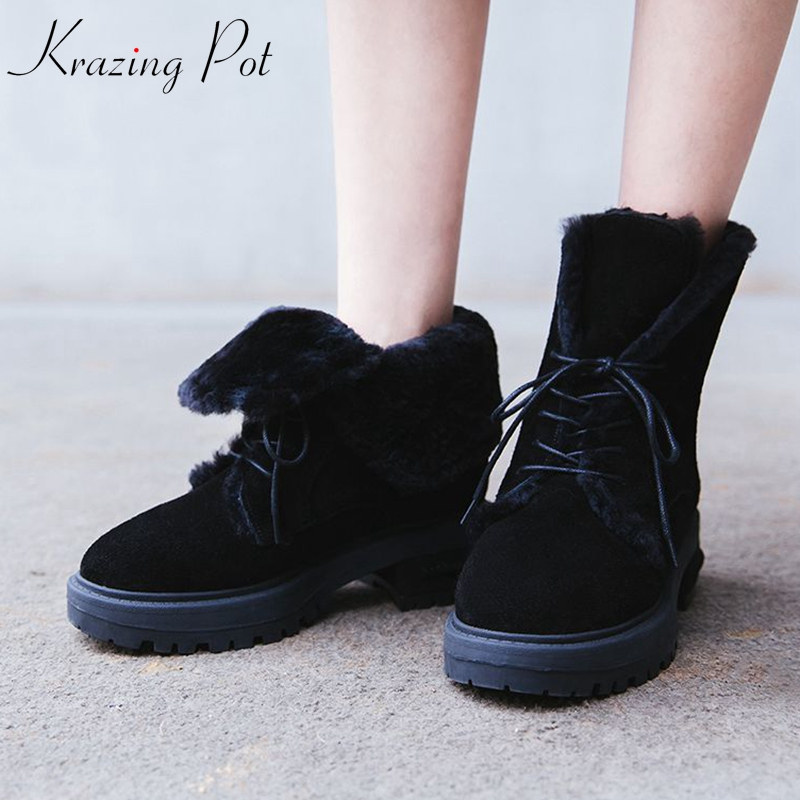 цена Krazing Pot cow suede wool blend fur ankle boots lace up round toe square med heel Hollywood movie star keep warm snow boots L93 в интернет-магазинах
