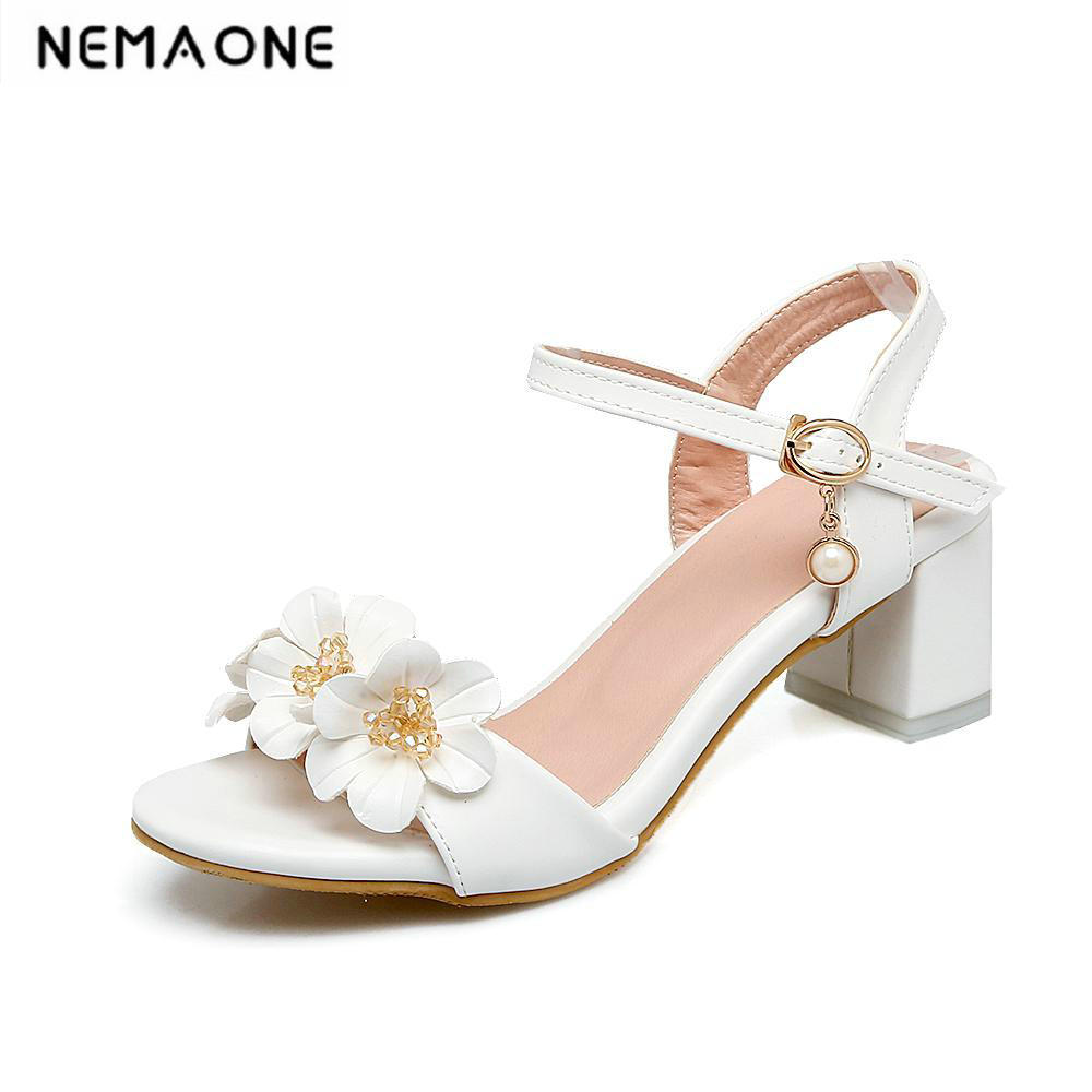 2018 New sweet flower women sandals high heels sandals open toe summer shoes woman white pink blue ladies shoes large size 34-43 ephemeral ladies zip sandals with heels buckle strap open toe summer casual shoes woman spongy insole plus size 11 12 white pink