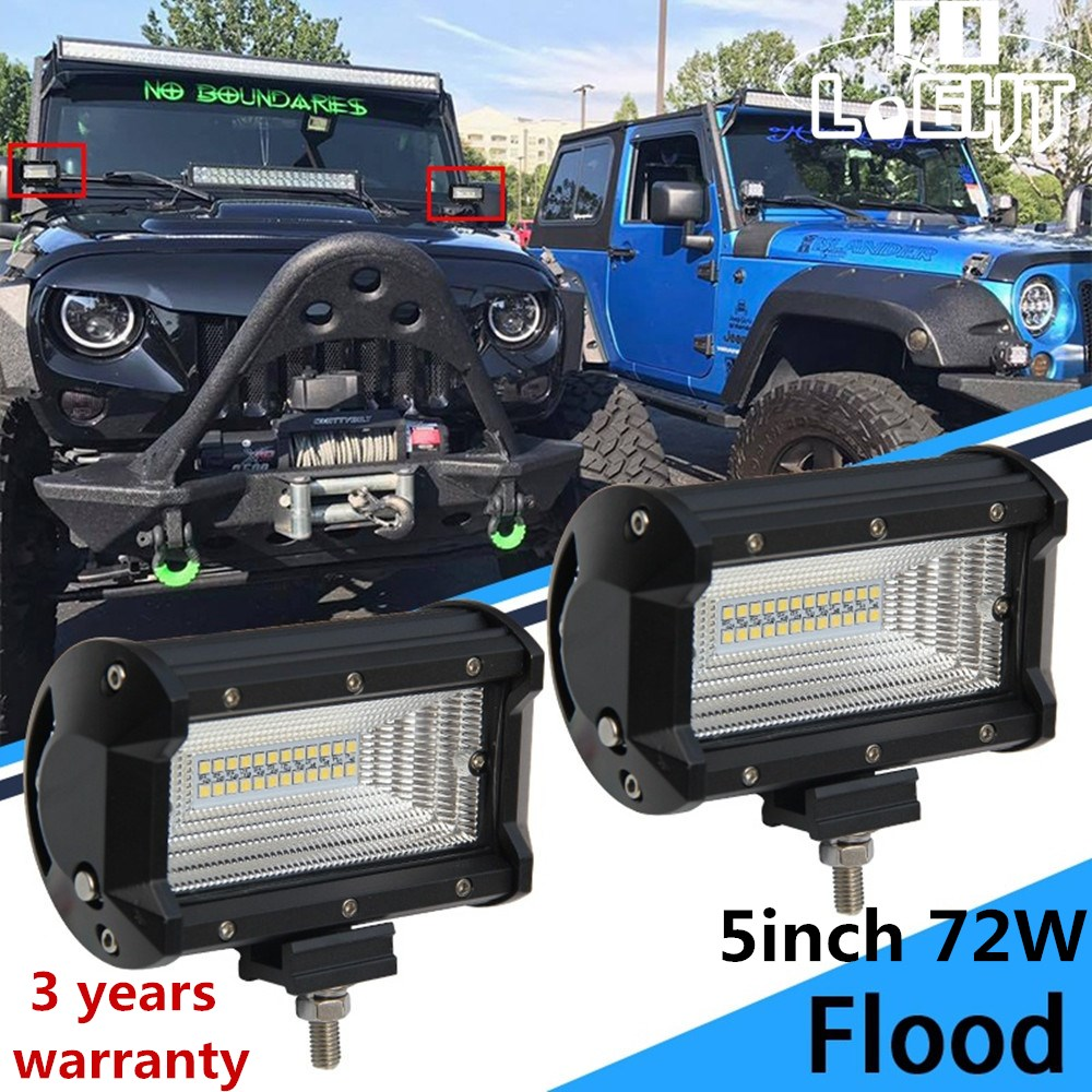 CO LIGHT 5 Inch Car Led Work Light 72W 6000K 12V 24V Flood Led Beams Auto