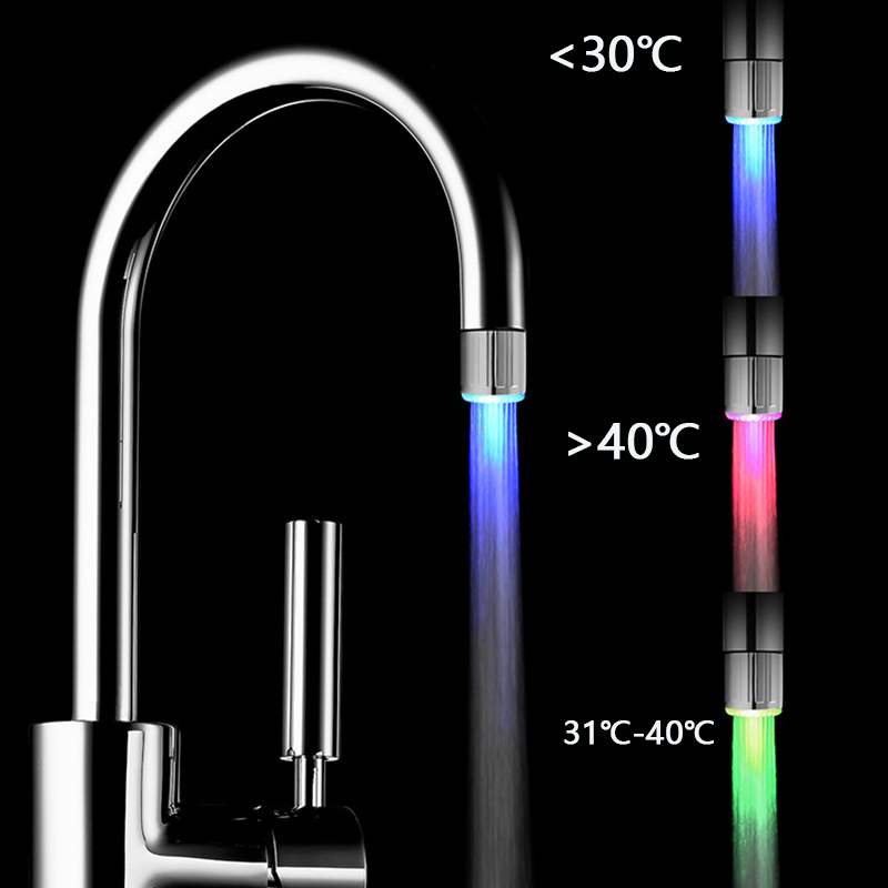 Luminous LED Water Faucet Shower Tap Temperature Sensor Intelligent Light-up Water Nozzle Head Light Kitchen Faucets 3Color