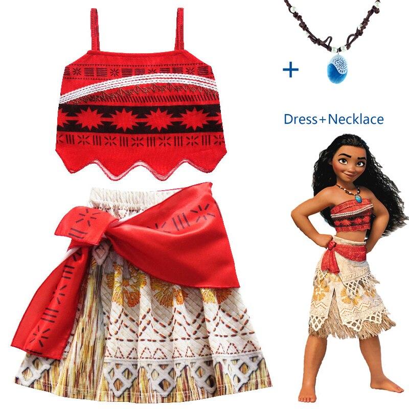 2017 prinzessin Moana Cosplay Kostüm für Kinder Vaiana kleid Kostüm mit Halskette für Halloween Kostüme für Kinder Mädchen Geschenke