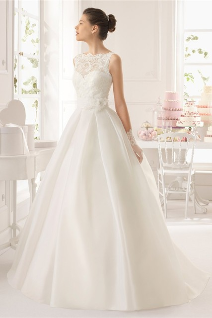 WD08 White Simple ball gown wedding dresses Elegant summer church ...