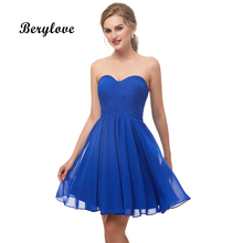 947236be5 BeryLove corto Simple azul real vestidos de fiesta 2019 Mini de baile vestidos  de graduación vestido para fiesta Junior vestidos