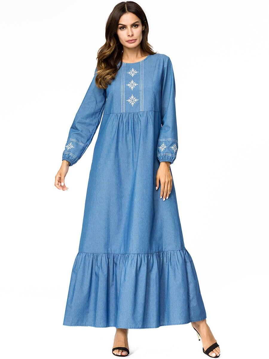 05a1f8496dbc4ac Халат femme hiver весна осень женские длинное джинсовое платье с круглым  вырезом с длинным рукавом плюс