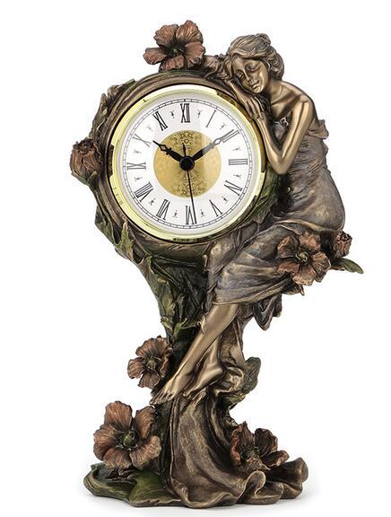 head Arts Crafts deer head The art series cold casting copper process European beauty and the poppy flower quartz clock home ac