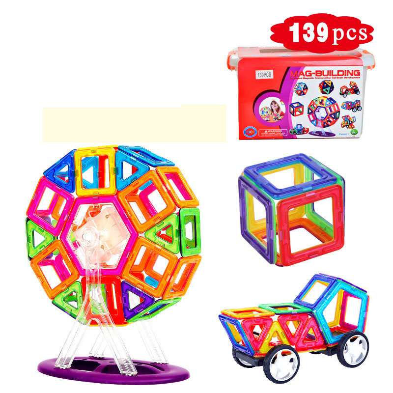 139 pcs Mag Building Magnetic Constructor Set Block Designer Building Models Toy Enlighten Plastic Kits Educational for Kids стоимость